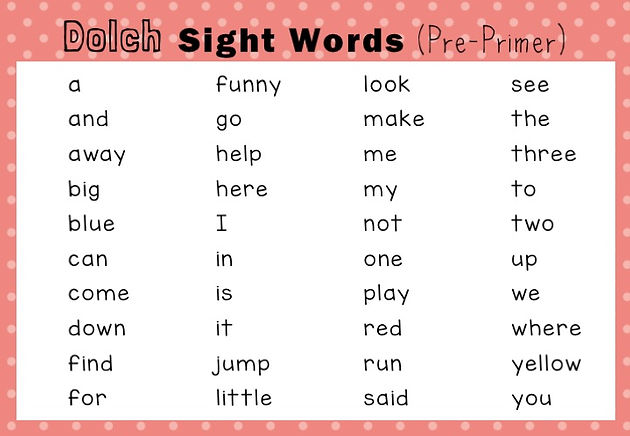 Dolch Sight Words Activities Pre-Primer / Pre-K Level
