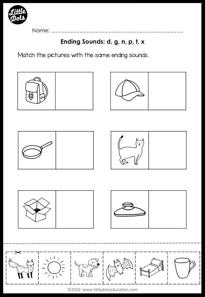 Preschool ending sounds phonics worksheet