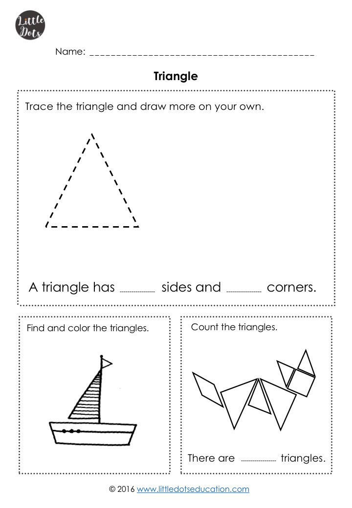 Free triangle shape worksheet for kindergarten