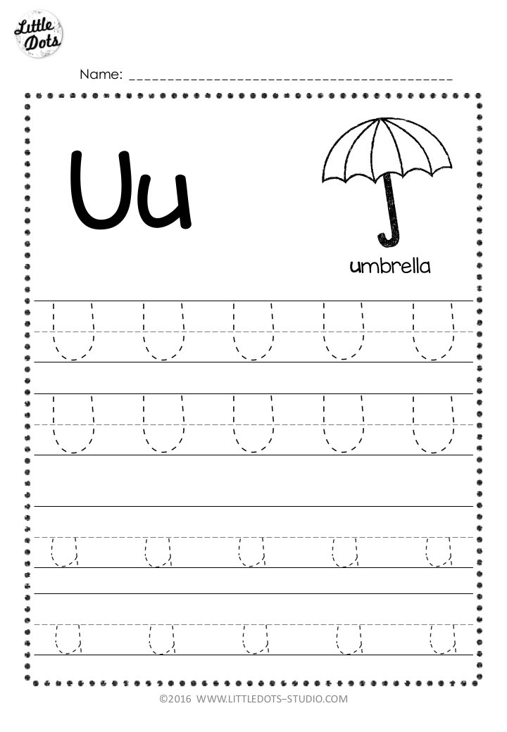 Letter u tracing worksheet with lines