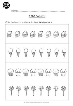 Free The Very Hungry Caterpillar patterning worksheet. Practice to continue AABB patterns.