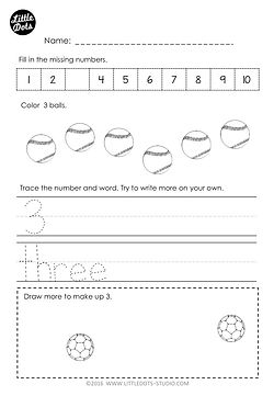 Free number and counting worksheet for Kindergarten. Practice tracing number and number word for 3. Practice to count one to one correspondence and fill in the missing number in a number line.