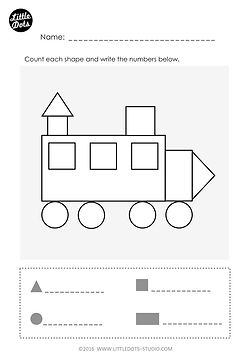Free Kindergarten Shapes Worksheet. Identify the different shapes in picture.