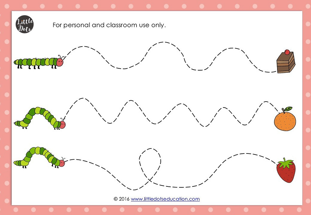 The Very Hungry Caterpillar pre-writing printable