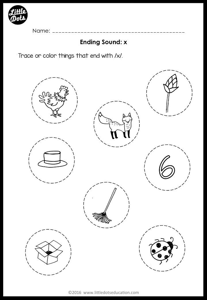 Preschool ending sounds worksheets for letter x