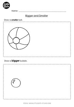 Free Pre-K measurement worksheet on bigger and smaller.