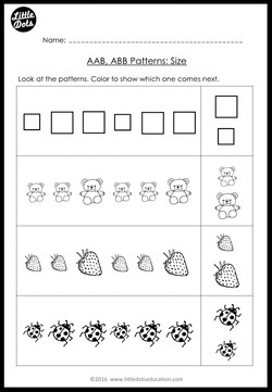 aab and abb patterns worksheets and activities for kindergarten little dots education. Black Bedroom Furniture Sets. Home Design Ideas