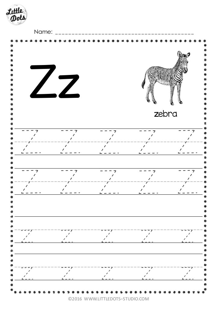 Free letter z tracing worksheet with line