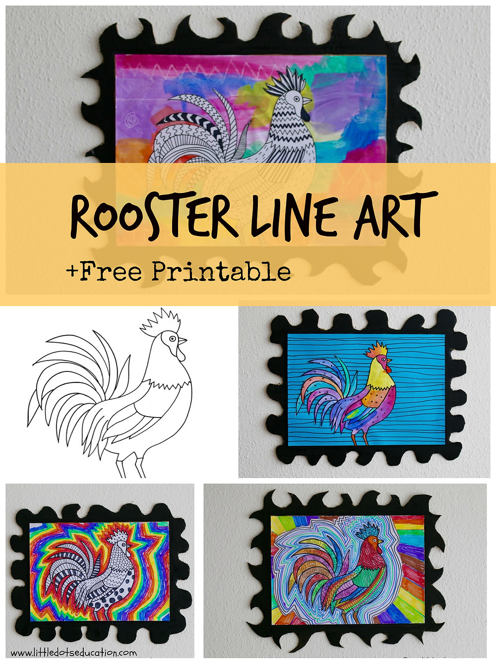 Chinese New Year 2017 Art for Kids. Rooster Art for Kids.