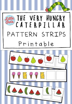 Free Pattern strips printable based on the book The Very Hungry Caterpillar. Practice to continue AB, AAb, ABB, AABB and ABC patterns with these adorable printable.