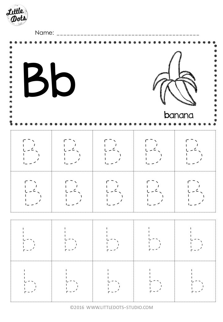 letter b tracing worksheet with line
