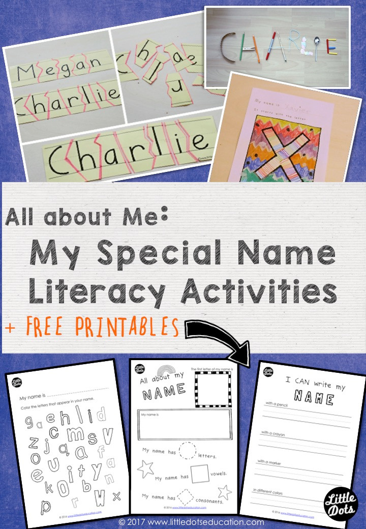All About Me Preschool Theme: My Special Name Literacy Activities and Printables