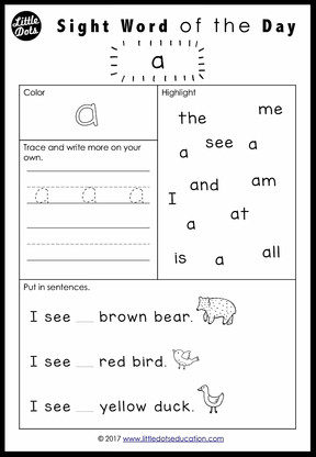 Attractive Sight Word A Worksheet