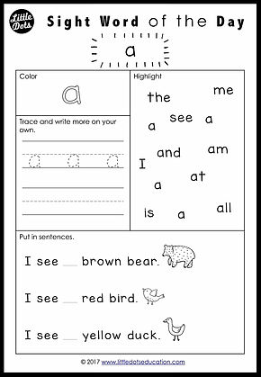 Free Pre-K Dolch Sight Words Worksheets Set 1