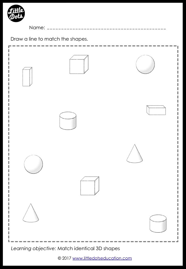 3D shapes or solid shapes matching worksheet for preschool, pre-k or kindergarten class. Practice to match sphere, cube, cuboid, cylinder, cone and pyramid.