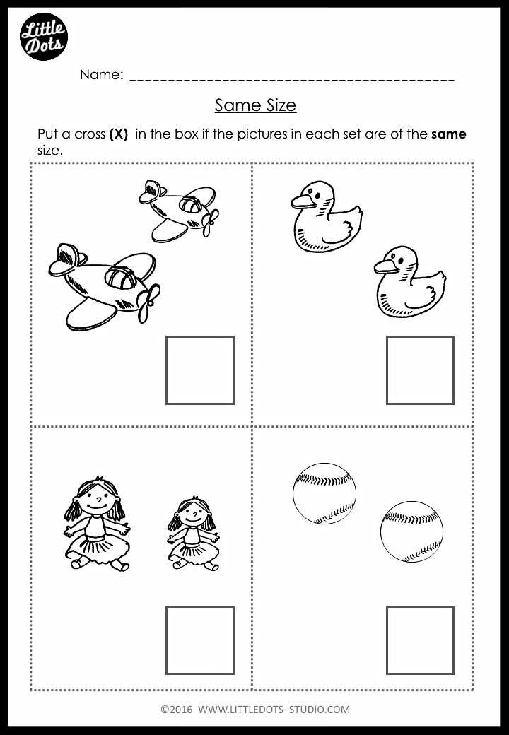 same size worksheet for pre-k