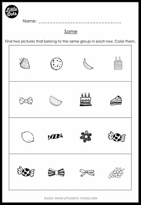 Kindergarten Same and Different Worksheets and Activities | Little ...