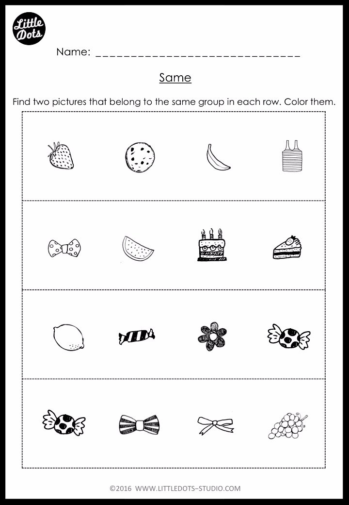sorting worksheet for kindergarten