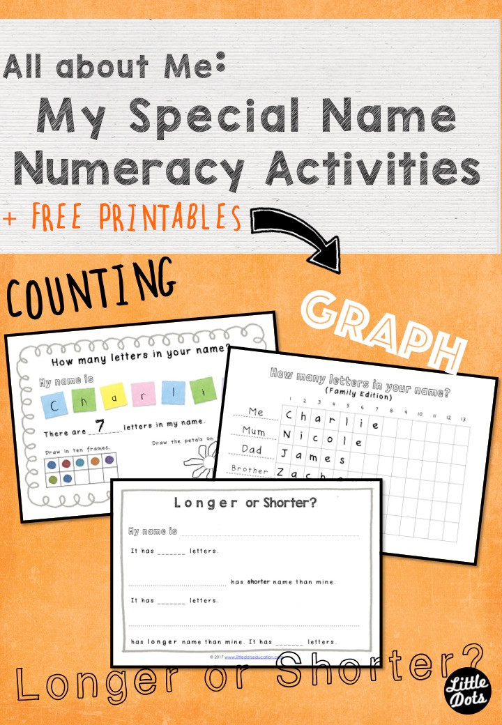 My Special Name: Numeracy Activities and Printable