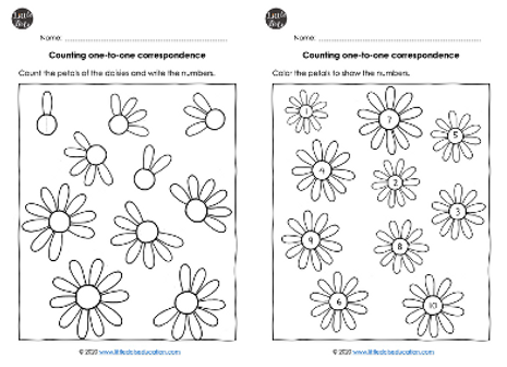 Flowers counting worksheets collage