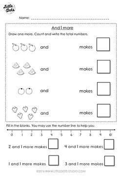 Free addition worksheet suitable for kindergarten or grade 1 level. Understand the concept of 1 more and practice to use number line to help solve addition problems.