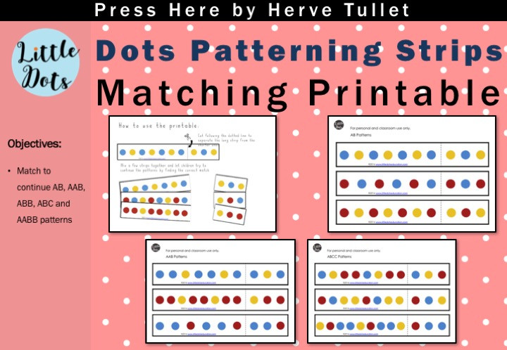 Press Here by Herve Tullet pattern strips matching printable. Free printable to practice to continue patterns suitable for pre-k and kindergarten level.