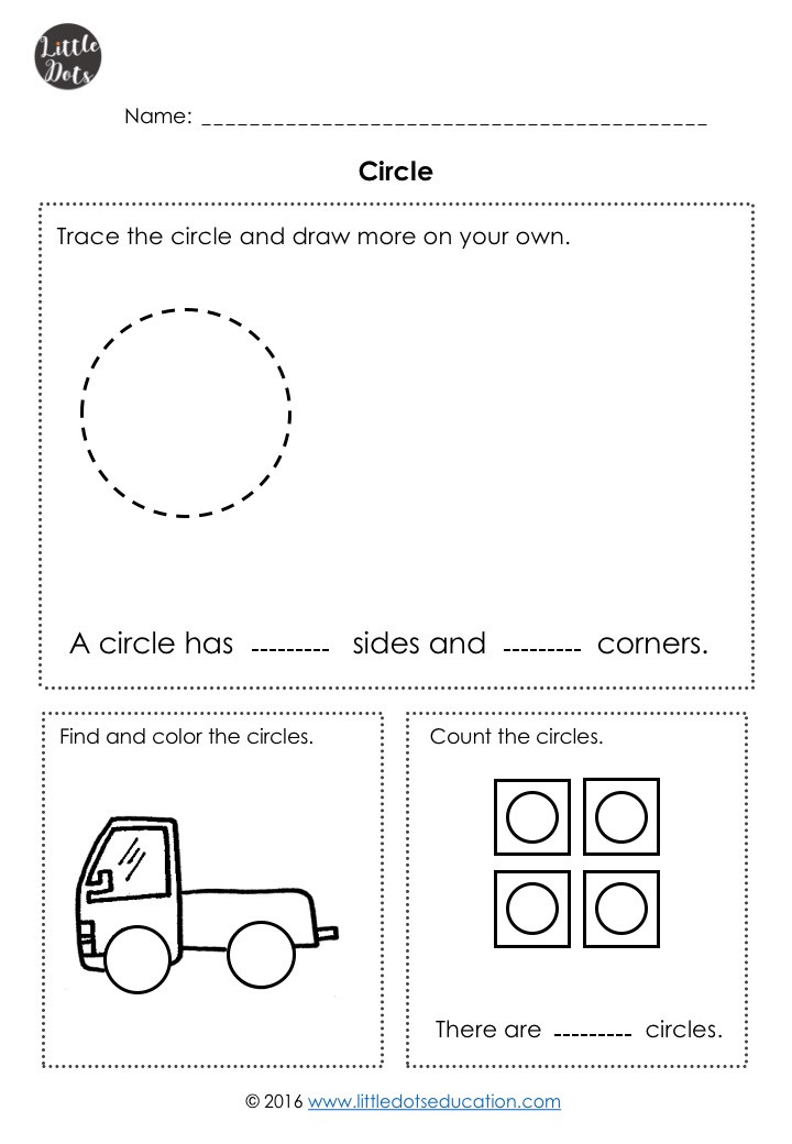 Free circle shape worksheet for kindergarten