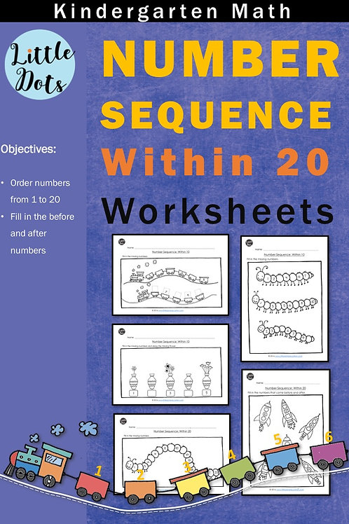 Number sequence within 20 worksheets
