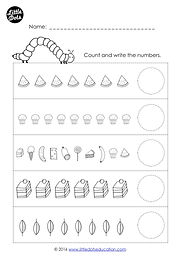Download free The Very Hungry Caterpillar counting one-to-one correspondence within 10 worksheet. Count the items and write the numbers.