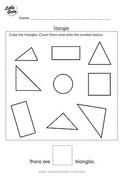 Free Pre-K triangle shape worksheet. Learn to recognise and count the triangle shapes.