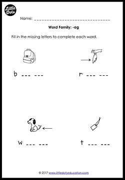 Free word family -ag worksheet for kindergarten class