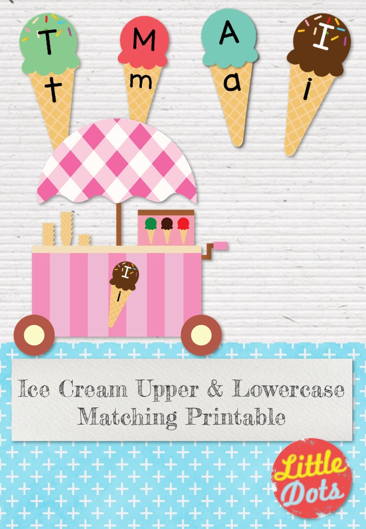 Ice Cream Matching Upper & Lowercase Printable