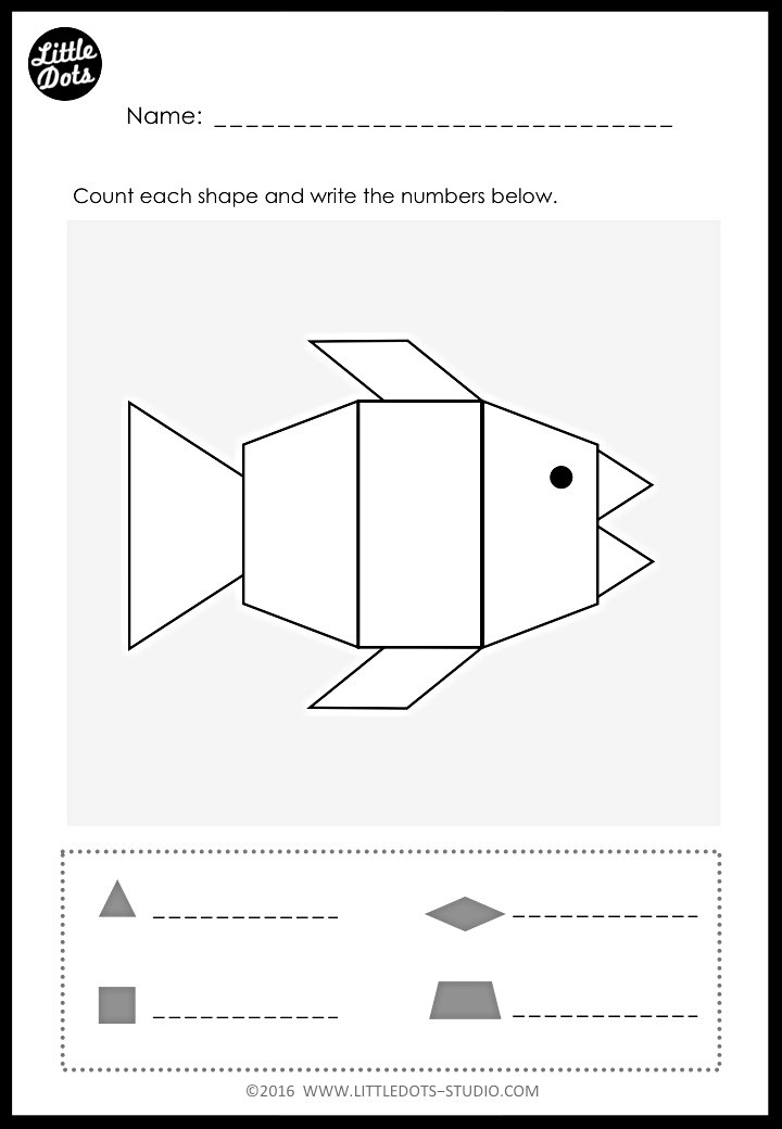 Counting shapes in picture worksheet for kindergarten