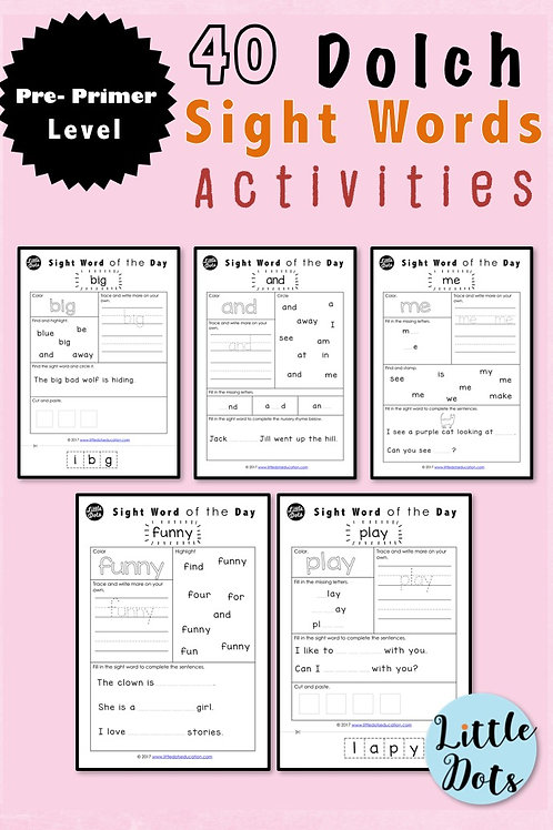 Dolch pre-primer sight words activities