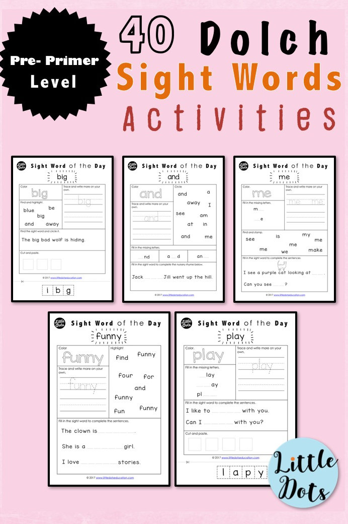 Dolch Pre Primer Sight Words Activities   littledotseducation