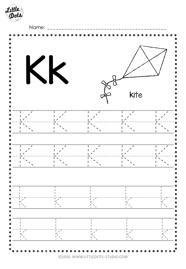 Free letter k tracing worksheet with line