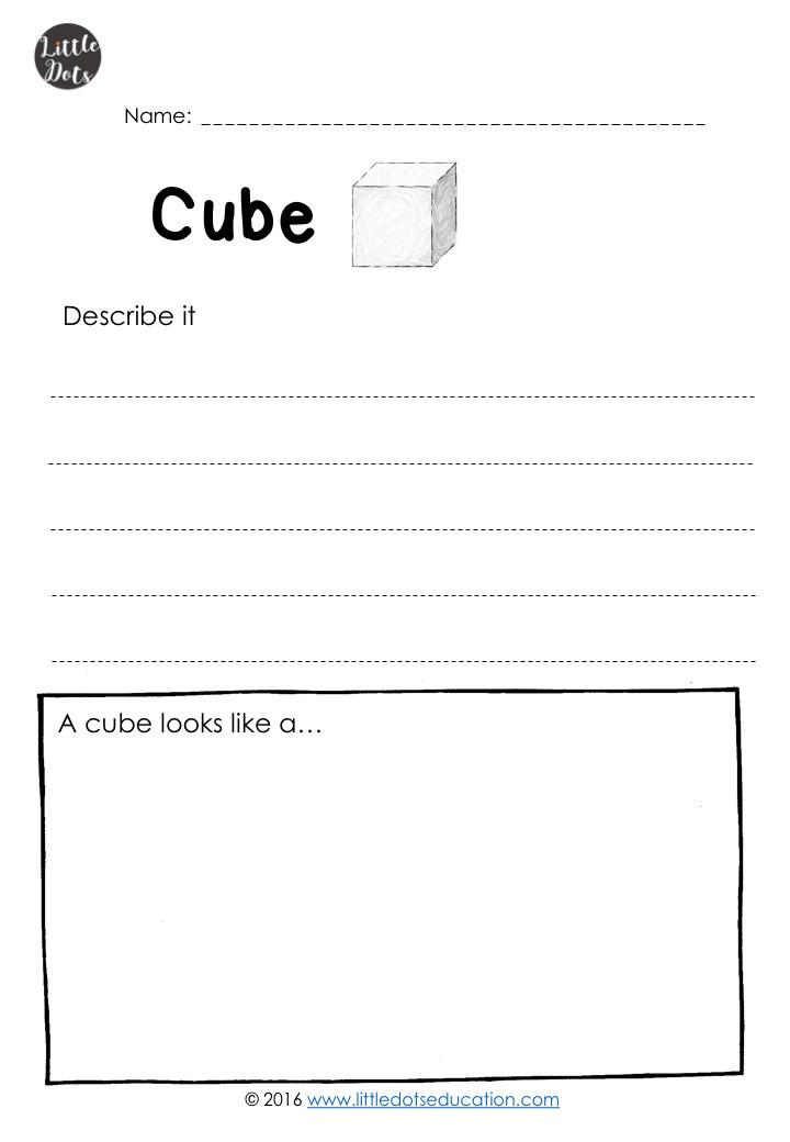 Free cube worksheet for kindergarten