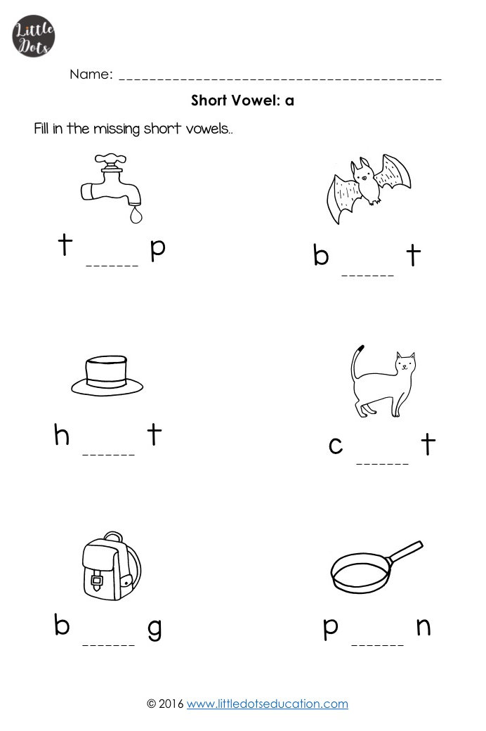 Short Vowels Worksheets