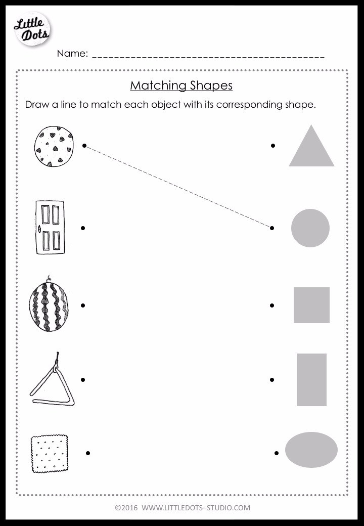 matching basic shapes worksheet for pre-k