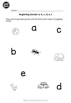 Free beginning sounds worksheets for letters a, b, c, d and e for kindergarten class.