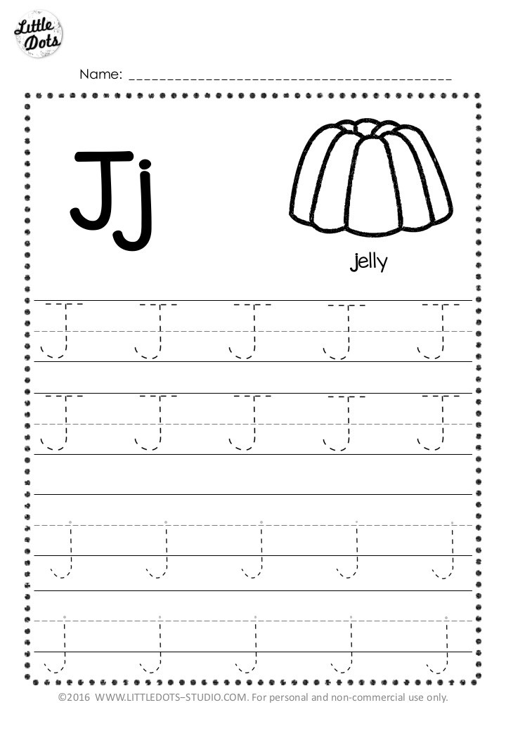 Free letter j tracing worksheet with line