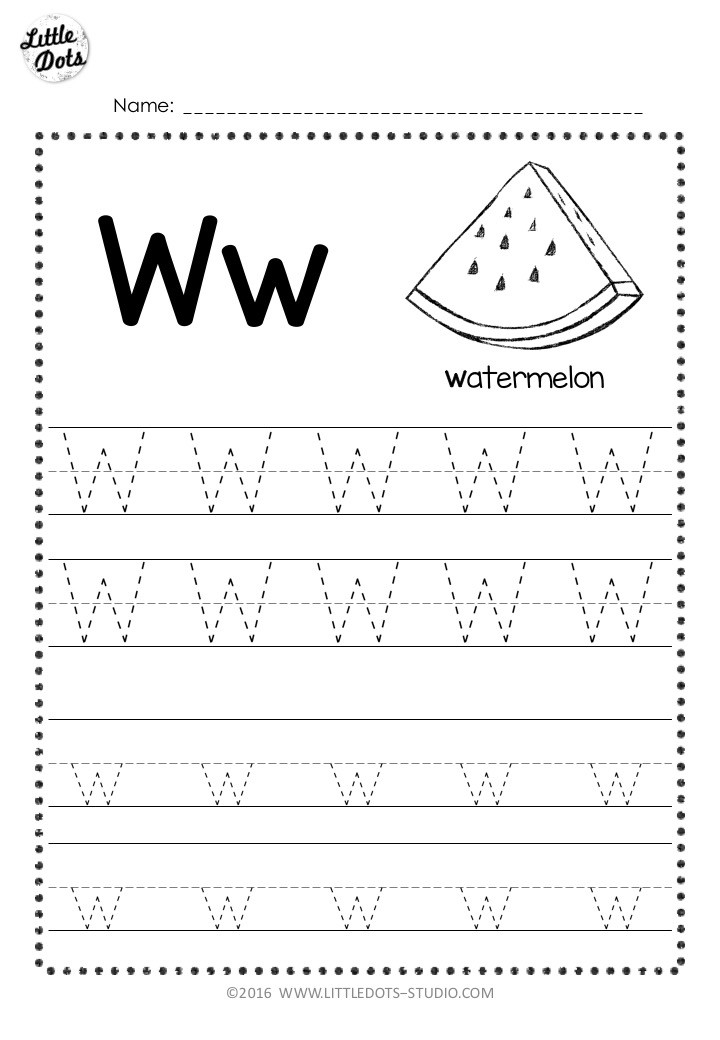 Free letter w tracing worksheet with line