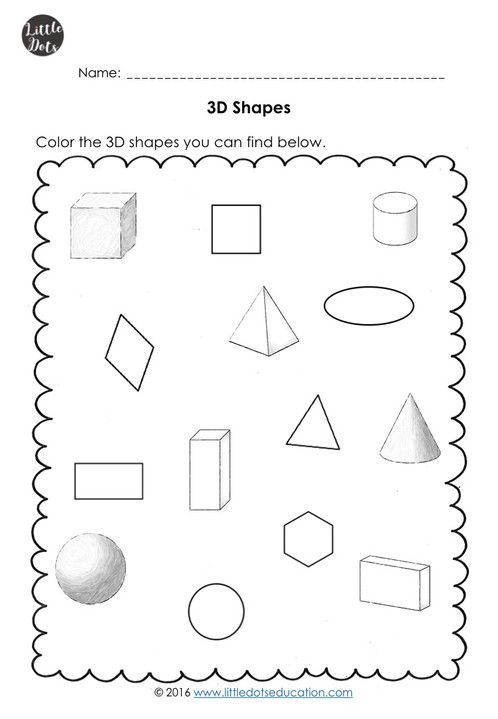 3d Solid Shapes Worksheets For Kindergarten