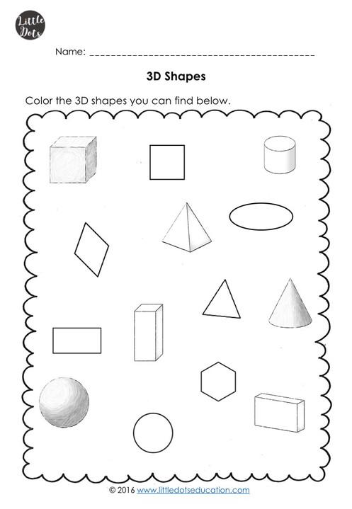 3d solid shapes worksheets for kindergarten. Black Bedroom Furniture Sets. Home Design Ideas