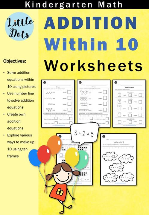 addition worksheets within 10 for kindergarten little dots education preschool printables. Black Bedroom Furniture Sets. Home Design Ideas