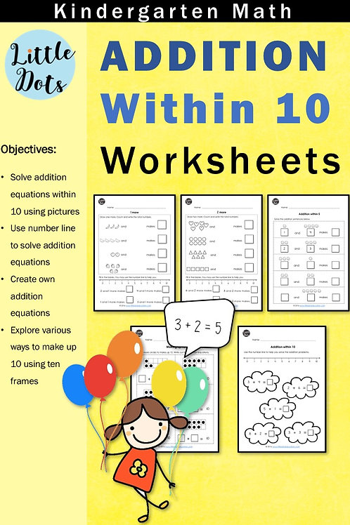 Addition within 10 worksheets