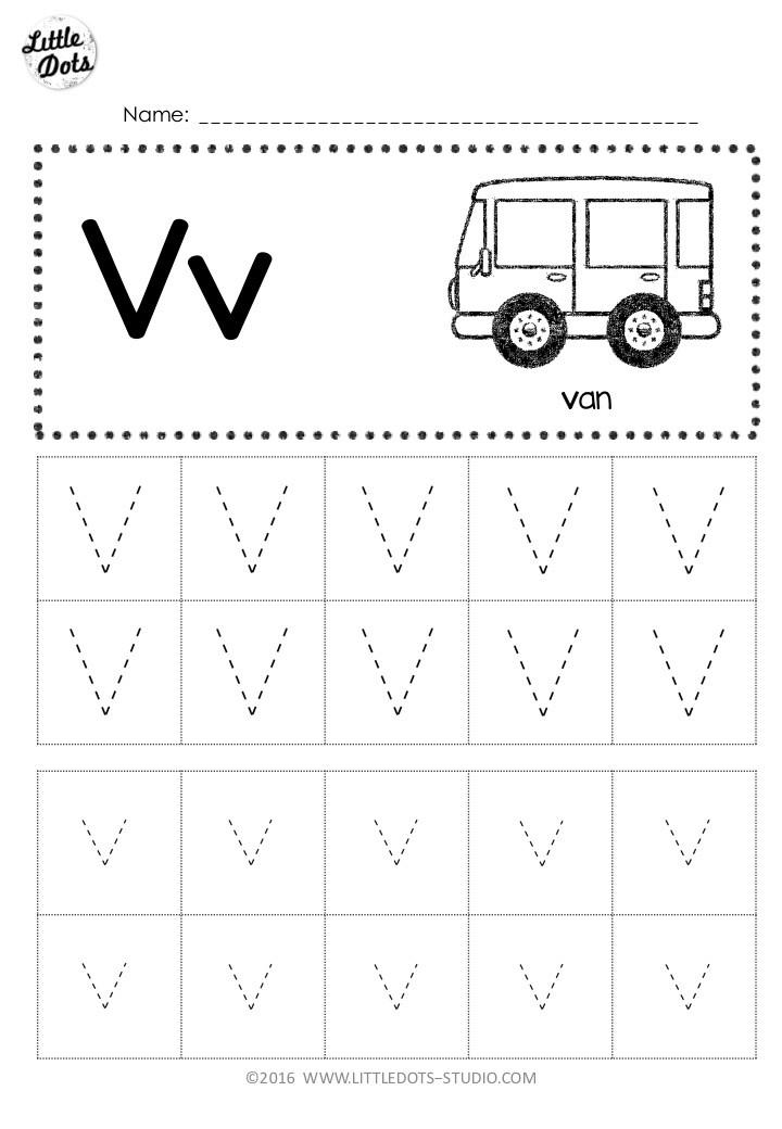 Free letter v tracing worksheet