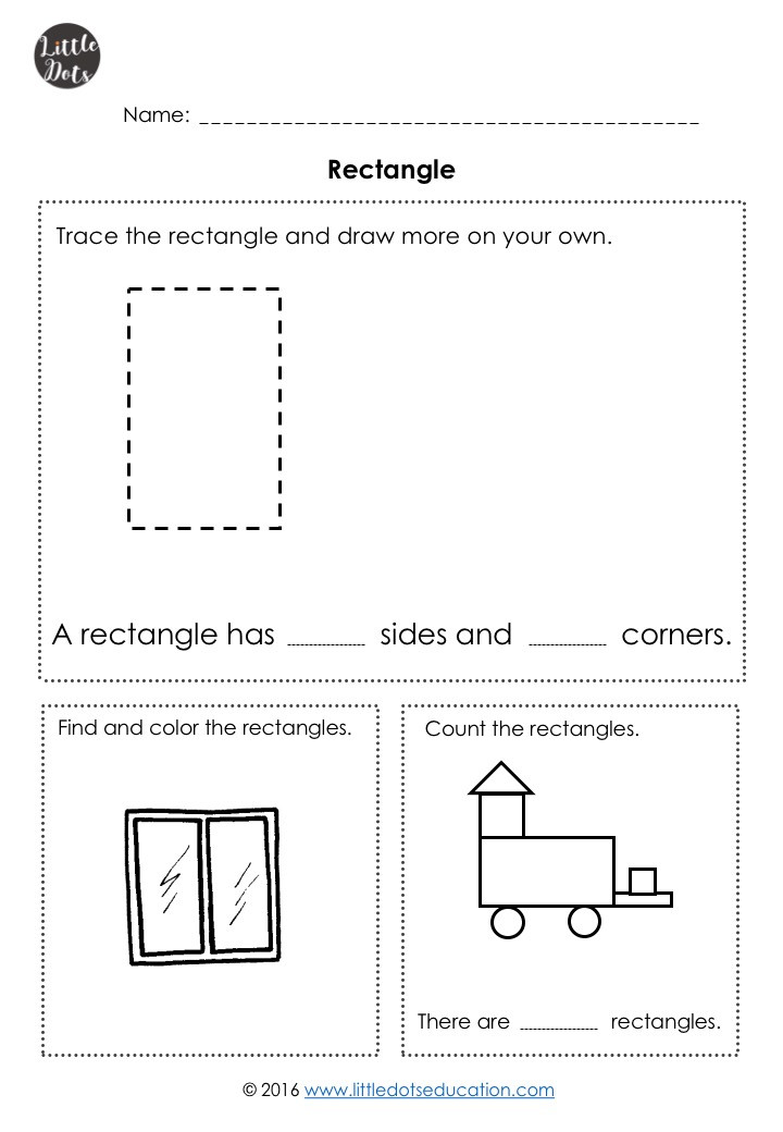 Free rectangle shape worksheet for kindergarten