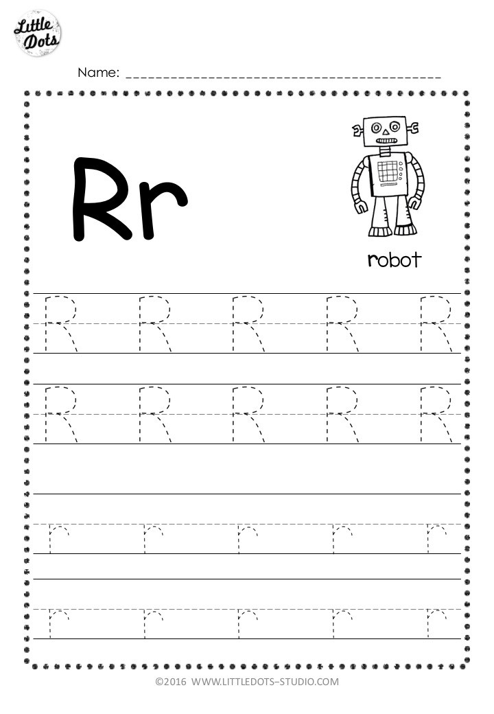 Letter r tracing worksheet with line