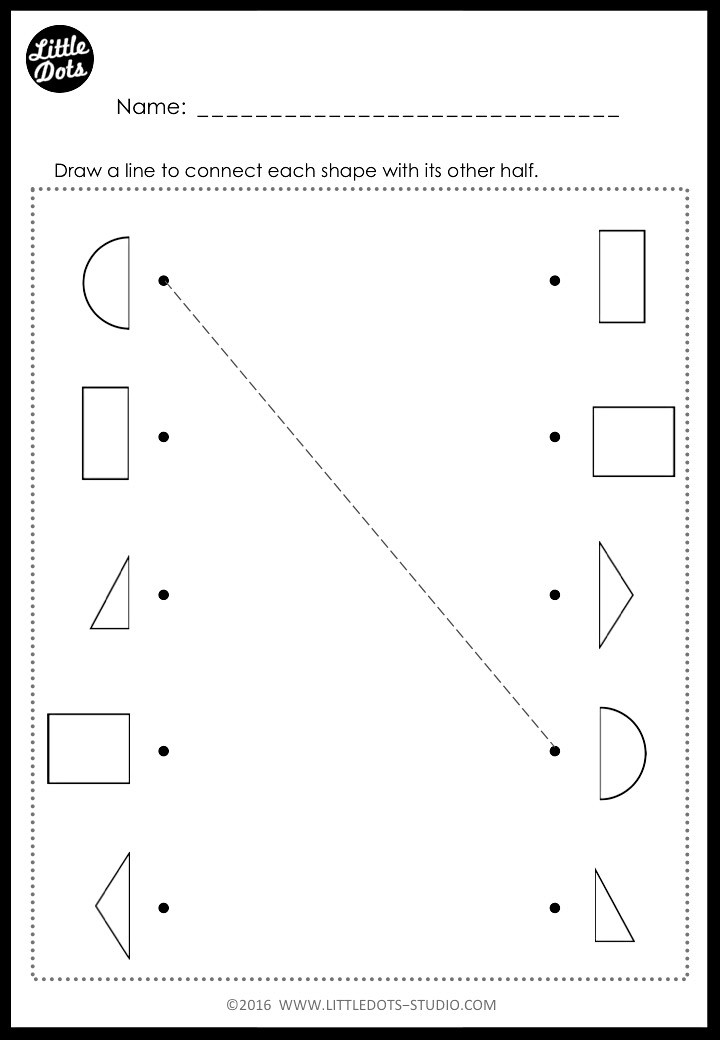 Matching shapes worksheet for kindergarten